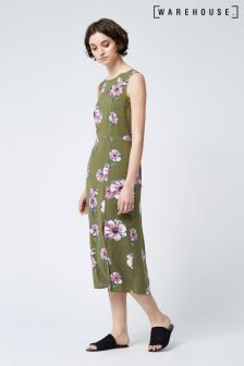 Warehouse Khaki Ocean Floral Tie Back Dress