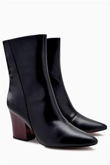 Chunky Heel Mid Calf Boots
