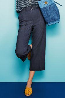 Denim Wide Crop Trousers