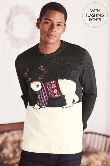 Light-Up Christmas Polar Bear Jumper