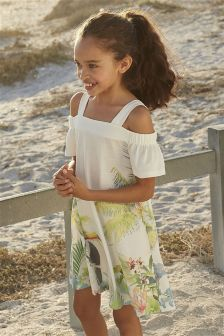 Toucan Open Shoulder Dress (3-16yrs)