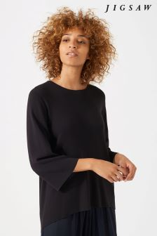Jigsaw Charcoal Pleated Back Jumper