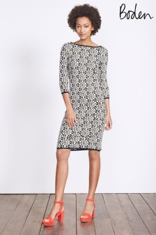 Boden Navy Heart Knit Jacquard Shift Dress