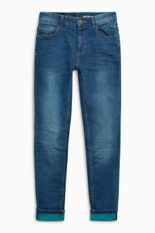 Contrast Weft Skinny Jeans (3-16yrs)