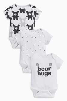 Bear Hugs Short Sleeve Bodysuits Three Pack (0mths-2yrs)