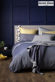 Secret Linen Company Navy Blue Brushed Effect Duvet Cover
