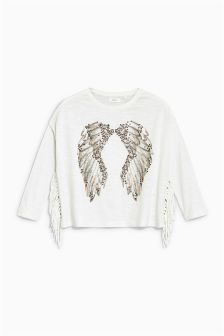 Studded Angel Wings Long Sleeve Top (3-16yrs)