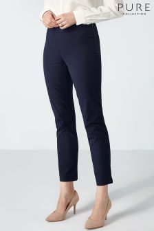 Pure Collection Navy Cotton Stretch Crop Trouser