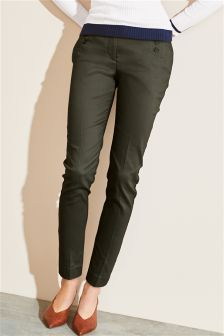 Button Detail Skinny Trousers