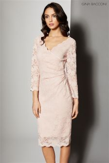 Gina Bacconi Pink Stretch Sequin Scallop Lace Dress