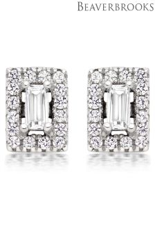 Beaverbrooks Silver Cubic Zirconia Halo Earrings