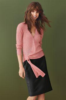 Signature Textured Suit Skirt