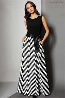 Gina Bacconi Black Jersey Bodice Satin Stripe Maxi Dress