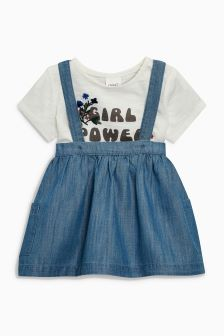 T-Shirt And Denim Pinafore Set (3mths-6yrs)