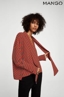 Mango Red Striped Tie Neck Blouse