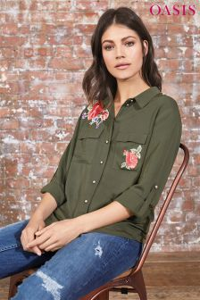 Oasis Khaki Embroidered Rose Shirt