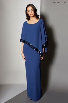 Gina Bacconi Navy Crepe And Chiffon Maxi Dress With Sequin