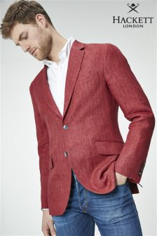 Hackett Red Linen Herringbone Blazer