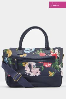 Joules Navy Day Today Printed Canvas Shoulder Bag