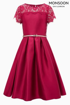 Monsoon Red Quinn Duchess Twill Dress