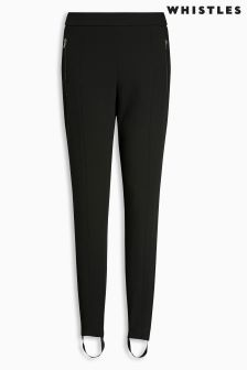 Whistles Black Zip Front Stirrup Trousers