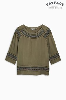 Fat Face Khaki Sophia Embroidered Blouse
