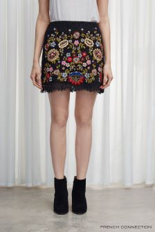 French Connection Black Mazie Floral Mini Skirt