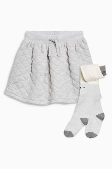Quilted Skirt And Tights Set (3mths-6yrs)