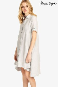 Phase Eight Grey Roxie Linen Dress