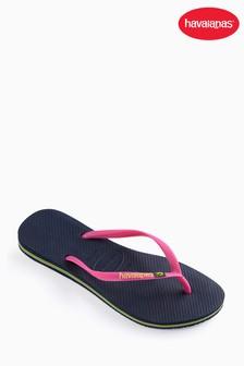 Havaianas® Slim Brasil Logo Navy Blue Flip Flop