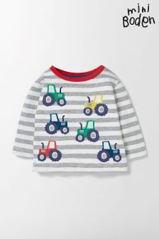 Boden Grey Fun Striped T-Shirt