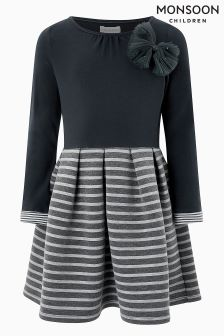 Monsoon Grey Frankie Stripe Dress
