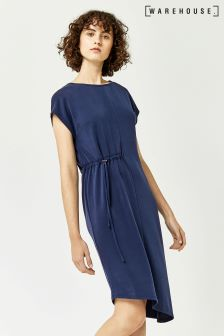 Warehouse Navy Cupro T-Shirt Dress