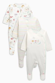Woodland Animal Print Sleepsuits Three Pack (0mths-2yrs)