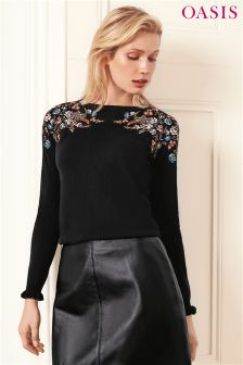 Oasis Black Esther Embroidered Mirror Placement Jumper