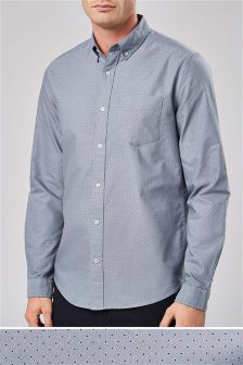 Long Sleeve Printed Oxford Shirt