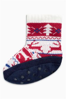 Fairisle Pattern Slipper Boots (Younger Boys)