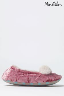 Boden Pink Velvet Bear Slipper