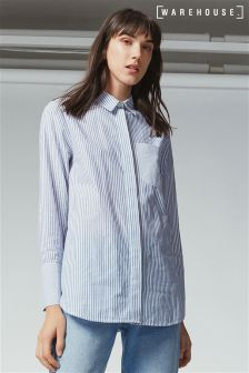 Warehouse Blue Stripe Cotton Shirt