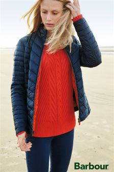Barbour® Orange Cable Knit Jumper