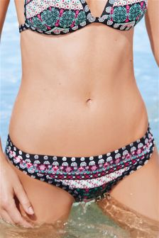 Printed High Leg Bikini Briefs