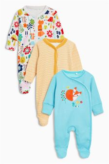 Fox Sleepsuits Three Pack (0mths-2yrs)