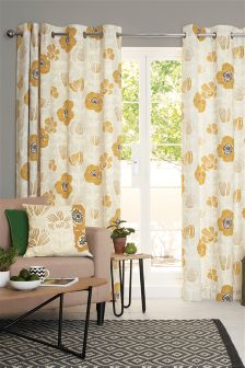 Bold Floral Print Eyelet Curtains