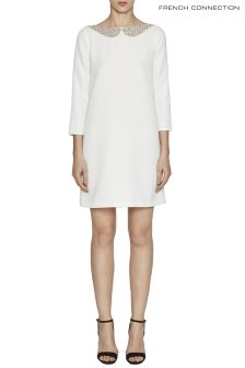 French Connection White Eliza Crepe Long Sleeve Tunic Dress