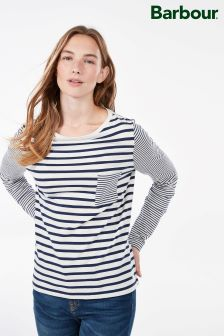 Barbour® White And Navy Stripe Long Sleeve Top