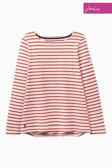 Joules Cream Red Stripe Harbour Top