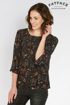 Fat Face True Black Bella Wildflower Blouse