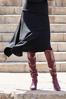 Stripe Asymmetric Skirt