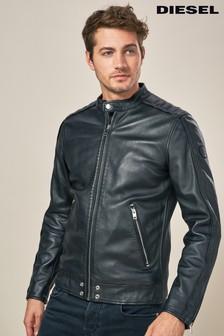 Diesel® Black L Quad Leather Biker Jacket