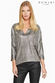 Damsel In A Dress Metallic Liquid Python Top